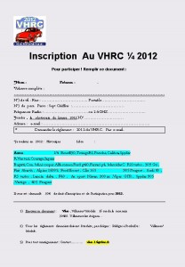 inscription au vhrc 2012